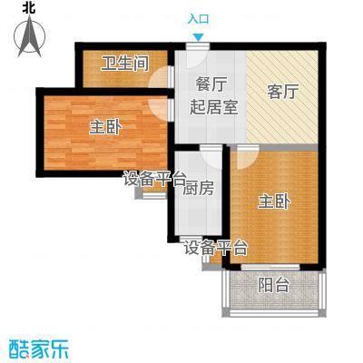 盛世长风二期64.37㎡6、7号楼E户型 二室一厅一卫户型