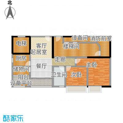 骏景花园97.94㎡2栋01户型2室2厅1卫1厨户型2室2厅1卫