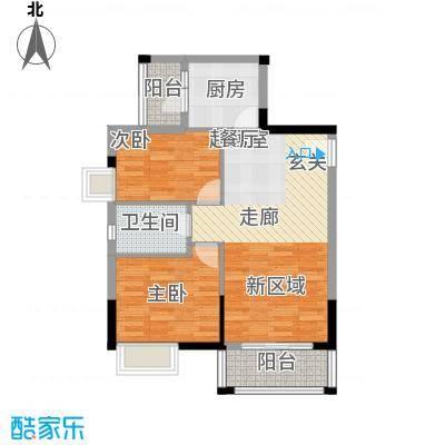 江南红78.00㎡6栋02户型两房两厅一卫户型2室2厅1卫