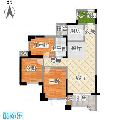 中洲中央公园LL户型3室1卫1厨