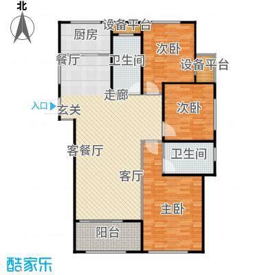 广厦财富中心137.00㎡D1户型 三室两厅两卫户型3室2厅2卫