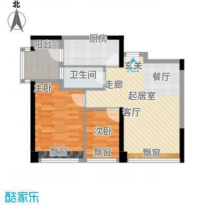 太东高地78.33㎡1栋B1户型二房二厅一卫78.33户型2室2厅1卫