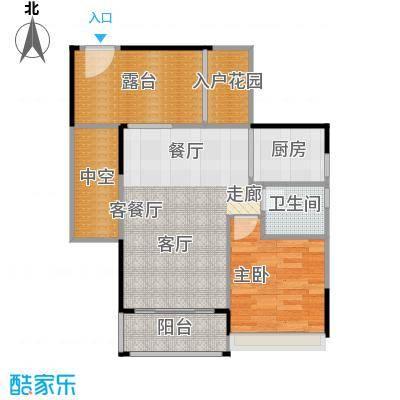 上品花园66.65㎡6栋04奇数层户型1室1厅1卫