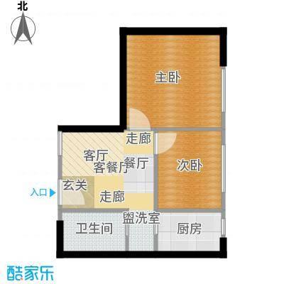 鑫湖国贸中心C户型2室2厅1卫1厨62㎡户型