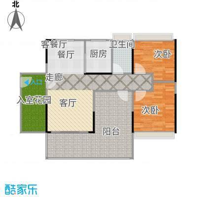 德丰凯旋城87.60㎡A2户型87.60平米2房2厅1卫户型2室2厅1卫