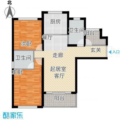 中科苑16#A4户型 两房户型2室2厅1卫