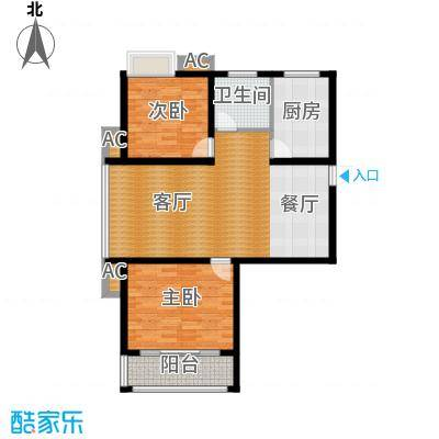 蓝天华侨城98.59㎡两室两厅一卫,面积约98.59㎡户型2室2厅1卫