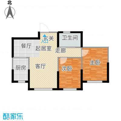 中顺福苑86.60㎡中顺福苑 H户型86.60㎡ 两室两厅一卫户型2室2厅1卫