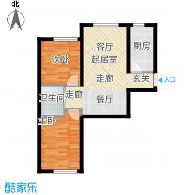 中顺福苑73.33㎡中顺福苑 D户型73.33-74.45㎡ 两室两厅一卫户型2室2厅1卫