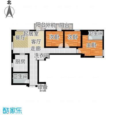 乐天圣苑155.00㎡F户型三室二厅二卫户型3室2厅2卫
