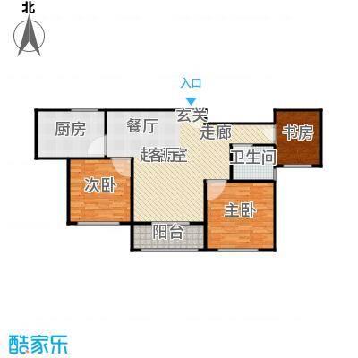湖畔林语95.00㎡3室2厅1卫95平米户型3室2厅1卫