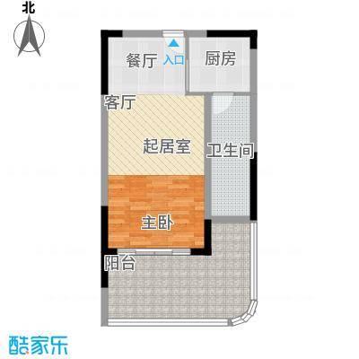 宝安虹海湾60.09㎡D户型60.09平米单间户型1室1厅1卫