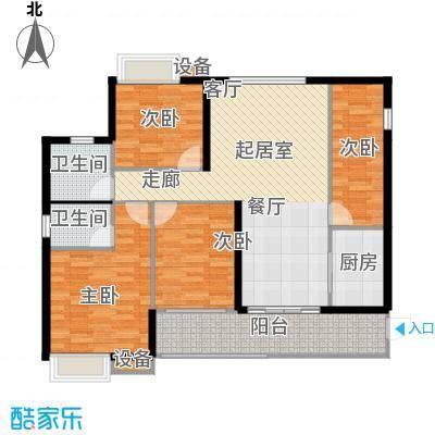 星汇绿洲花园123.00㎡幸福三房户型3室2厅2卫