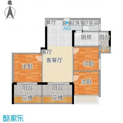 润福壹号公馆103.00㎡3栋0104户型3室2厅1卫X