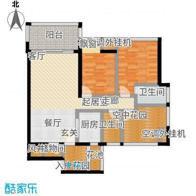 新怡豪门D户型2室2厅2卫1厨 102.15㎡户型2室2厅2卫