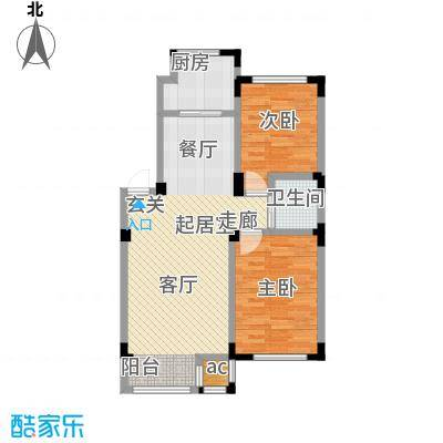 金越逸墅蓝湾85.42㎡金越逸墅蓝湾77#楼2、3、4楼H1户型图户型2室2厅1卫