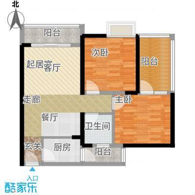 诚杰壹中心84.22㎡D1\\\'二房二厅一卫户型2室2厅1卫