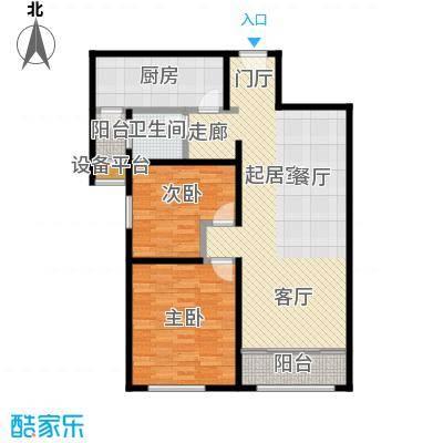 依水现代城104.15㎡8号楼F4户型 2室2厅1卫 104.15平户型2室2厅1卫