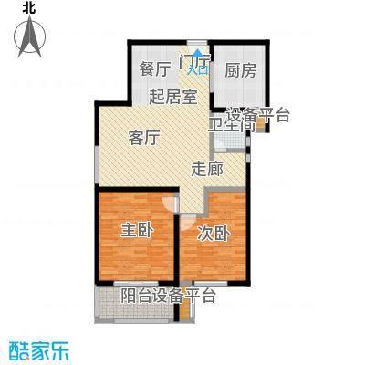 依水现代城98.72㎡12号楼B户型 2室2厅1卫 98.72平户型2室2厅1卫