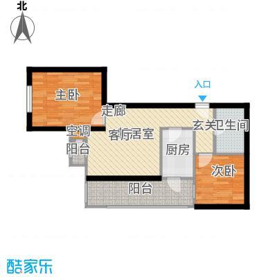 先锋领寓59.92㎡两室一厅一卫户型