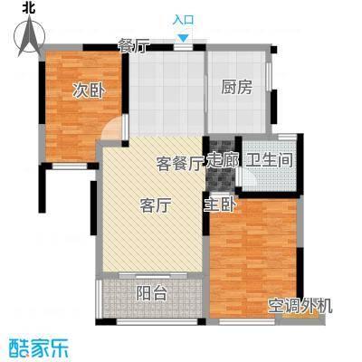 蚌埠绿地中央广场90.00㎡户型2室2厅1卫