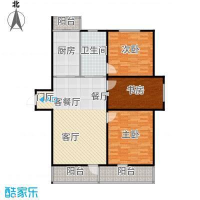 成城蓉桥壹号108.43㎡C1户型图 3室2厅1卫户型3室2厅1卫