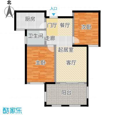 正东中央公馆84.00㎡B户型 二房二厅一卫户型2室2厅1卫