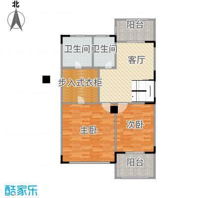 观林一品80.20㎡D第二层平面图户型2室1厅2卫