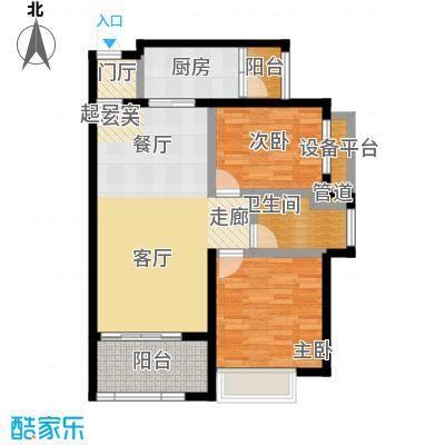恒大银湖城88.47㎡20栋3-24层01户型2室2厅1卫