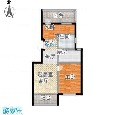 富城茗居二期79.64㎡16#D6户型2室2厅1卫