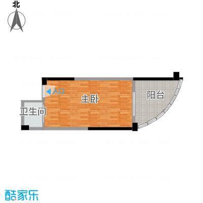 东能银滩48.00㎡2#、3#A户型 43㎡户型1室1厅1卫