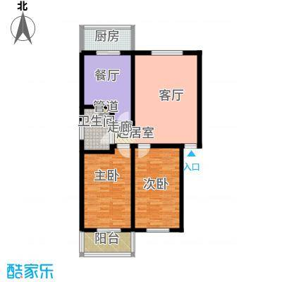 九龙苑95.55㎡A1(A12)两室两厅一卫户型