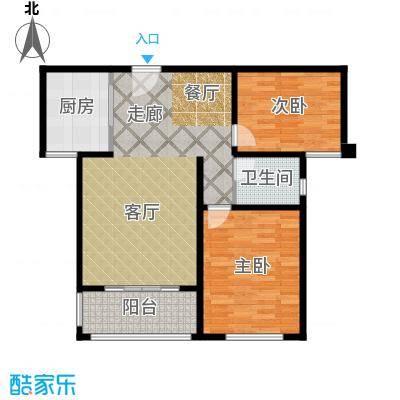 同科・汇丰国际86.00㎡两室两厅一卫,面积约86㎡户型2室2厅1卫