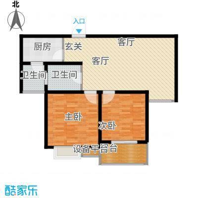 仕方国际88.00㎡仕方国际E户型两室两厅88㎡户型2室2厅1卫