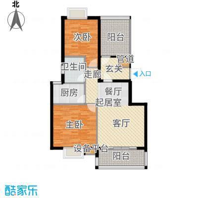 东方领秀92.00㎡两房两厅一卫,建筑面积约92㎡户型