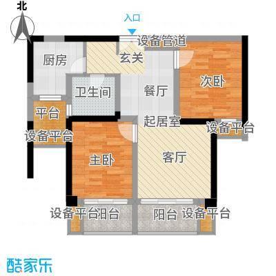 东方领秀86.00㎡2A户型,建筑面积约86㎡户型2室2厅1卫