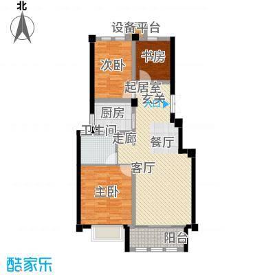 上海大公馆99.40㎡E户型美景华宅户型3室2厅1卫