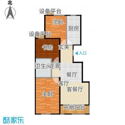 铂悦派117.00㎡A1a户型 117平户型3室2厅1卫