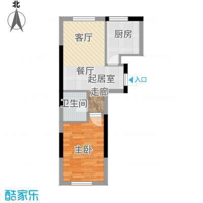 万星幸福城56.35㎡万星幸福城11#H6户型1室1厅1卫1厨 56.35㎡户型1室1厅1卫