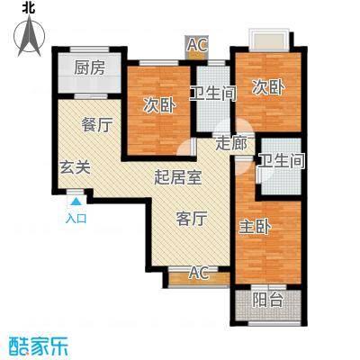 中环广场三室两厅两卫136平米户型3室2厅2卫QQ