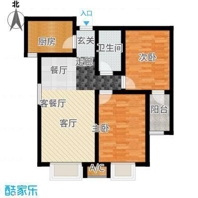 中环广场两室两厅一卫91.45平米户型2室2厅1卫X