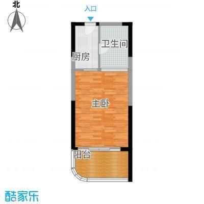 宝安虹海湾51.33㎡B户型51.33平米单间户型1室1厅1卫