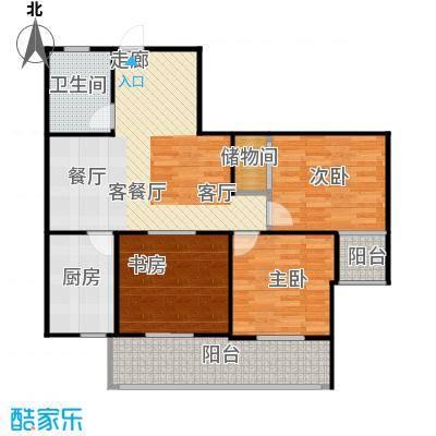 盛世华城U户型2室2厅1卫1厨 106.58㎡户型