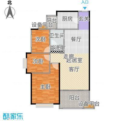 龙光城93.01㎡Cb-5户型三房二厅一卫户型3室2厅1卫