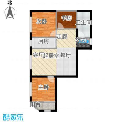 凤城国际广场G户型三室两厅一厨一卫103平米户型