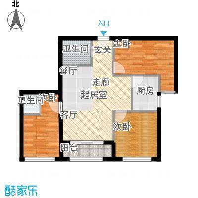 凤城国际广场F户型三室两厅一厨二卫95平米户型