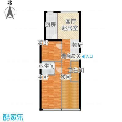 凤城国际广场C户型三室两厅一厨两卫114平米户型