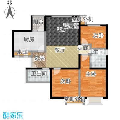 宝龙花苑户型3室2卫1厨