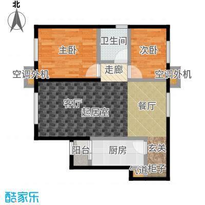 宝龙花苑户型2室1卫1厨