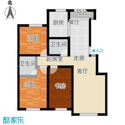 盛阳华苑129.00㎡B1户型128-129平米户型3室2厅2卫